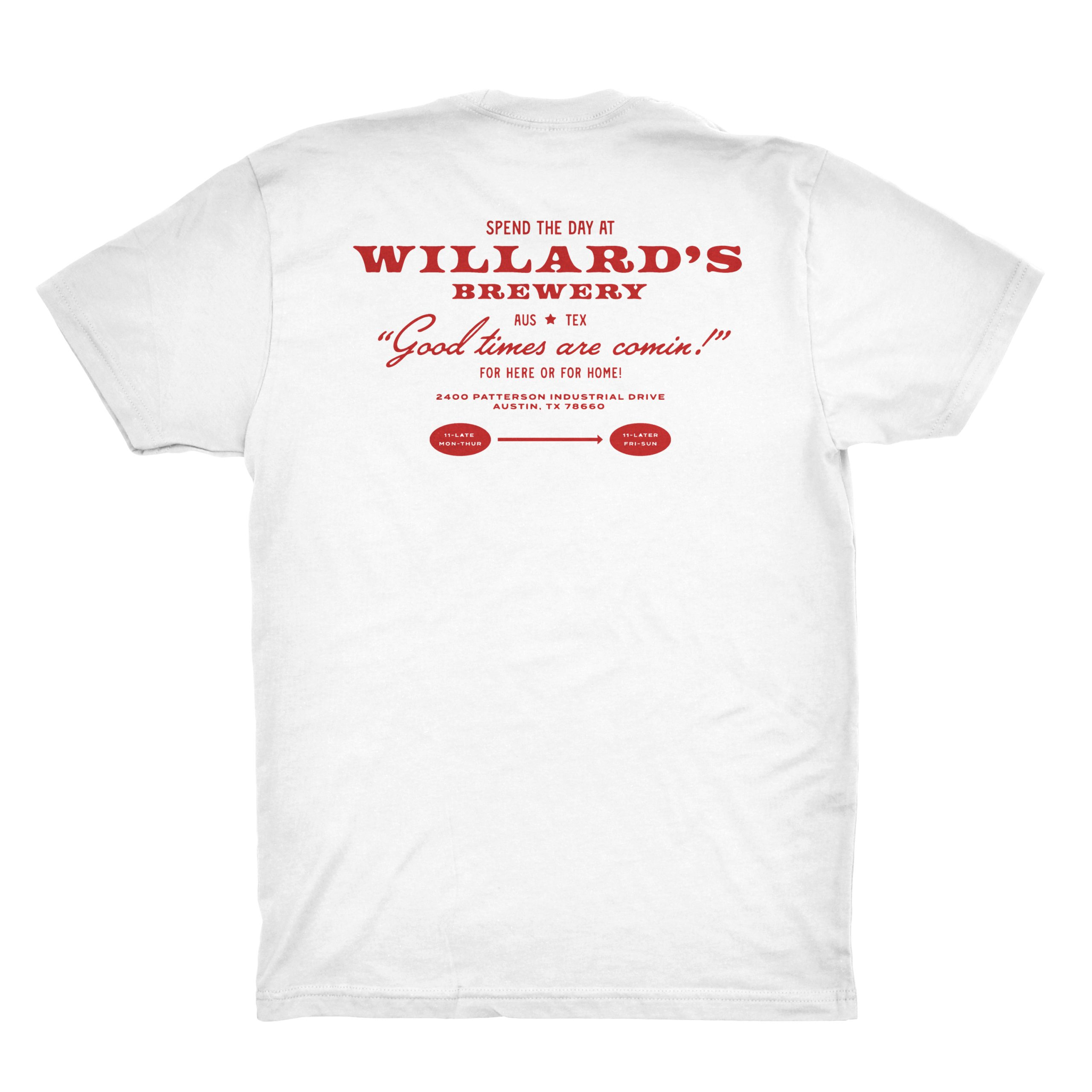 willard's brewery white tshirt