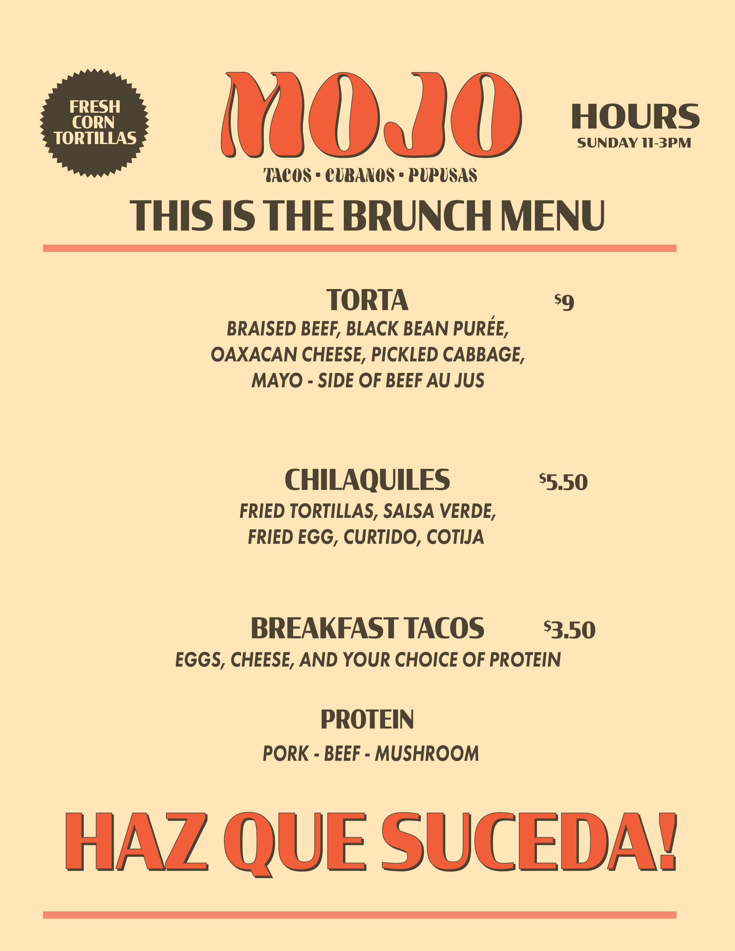 mojo food truck brunch menu willards brewery